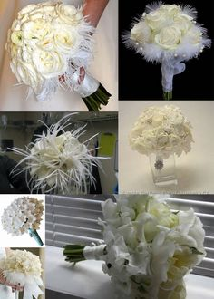 all white bouquets with feathers!  Love it!
