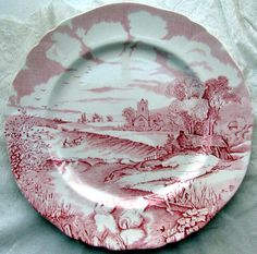 Pretty scene on Pink (Red) transferware cake plate! Love this sweet pattern!