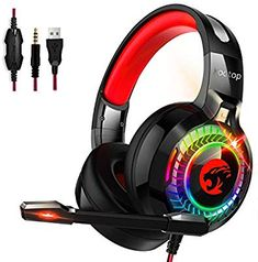 Kootop Gaming Headset for Xbox Cancelling Over Ear Headphones with Mic,RGB Light,Volume-Control, Bass, Soft Memory Earmuffs for Laptop Mac Nintendo Switch Games(Black&Red) Ps4 Gaming Headset, Gaming Headphones, Over Ear Headphones, Pc Ps4, Joker Hd Wallpaper, Ps4 Or Xbox One, Leather Headbands, Game Black, Xbox One Console