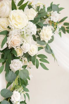 2pcs Flower Arch Décor with Sheer Drape (Pack of 3) - Timeless White White Wedding Arch, White Wedding Bouquets, Wedding Arch Greenery, Neutral Wedding Flowers, Diy Wedding Arch Flowers, White Wedding Flower Arrangements, August Wedding Flowers, Wedding Arches, Wedding Colors