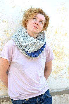 Chunky knit neckwarmer crochet cowl in blue and by GrannyKnowsBest