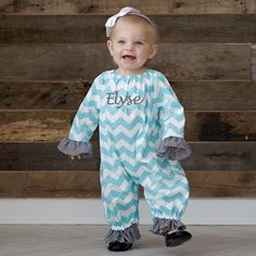 Baby Girls Aqua Chevron Abby Bubble – Lolly Wolly Doodle