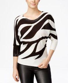 Xoxo Juniors' Zebra-Print Dolman-Sleeve Sweater - Ivory/Black M