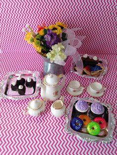 Tea+set+cakes+brownies+flowers+accessories+by+QueenEmmaDesigns,+$35.00