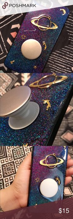 iPhone 7 Plus Case With Popsocket Selling my pretty space themed iPhone 7 Plus case comes with with Gold Popsocket (Never Used Case & Popsocket Brand New) Accessories Phone Cases
