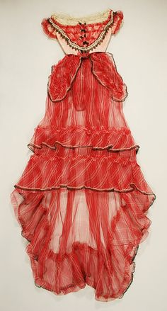 Sheer Dress (Ball Gown), late 1860s Historical Costume, Historical Clothing, Vintage Gowns, Vintage Outfits, Victorian Fashion, Vintage Fashion, Mode Steampunk, Old Dresses, Moda Vintage