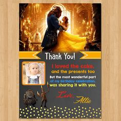 Beauty and the Beasty Thank You Card  Chalkboard Gold  Red