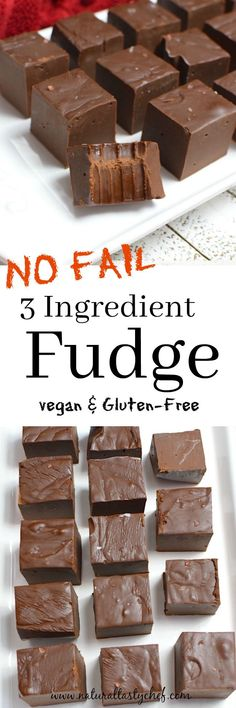 Easy, No-Fail Vegan Chocolate Fudge #cleanhealthydesserts3ingredients