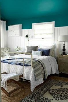 Something different for room colour. Country Living Magazine House of Year - beach bungalow bedroom by Emily Henderson Bungalow Bedroom, Beach House Bedroom, Cozy Bedroom, Bedroom Decor, Bedroom Ideas, Bedroom Designs, Pretty Bedroom, White Bedroom, Bedroom Colors