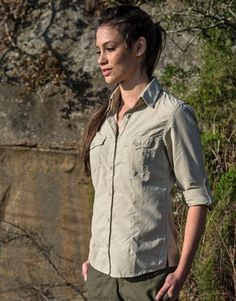 Women's Rufiji MaraTech Long Sleeve Safari Shirt: Our Signature safari shirt. This shirt is made from light, strong technical fabric, is easy to pack, and has a lovely feminine cut