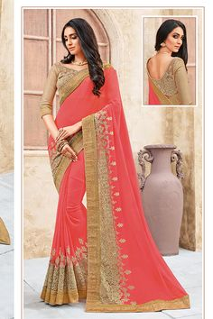 Carrot Red & Beige Color Georgette Fabric Saree