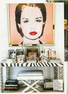 carolina herrera,  zebra console, zebra sofa table, black  and white x bench