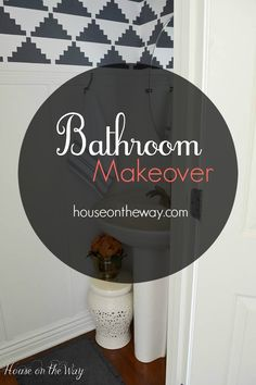 Bathroom Makeover with Stenciled Walls and Board and Batten Wood Wall Treatment from houseontheway.com