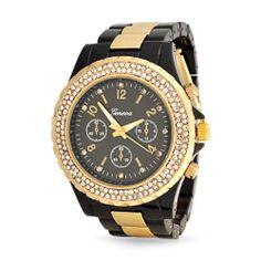 Bling Jewelry Geneva Black Gold Plated Stainless Steel Chronograph Unisex Watch Bling Jewelry, Jewelery, Boyfriend Watch, Jewelry Showcases, Casio Watch, Rose Gold Plates, Chronograph, Rolex Watches, Love Fashion