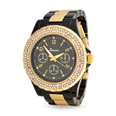 Bling Jewelry Geneva Black Gold Plated Stainless Steel Chronograph Unisex Watch