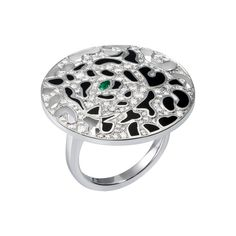Panthère de Cartier Rings Collection: Cartier Panthère ring in white gold diamonds emerald lacquer