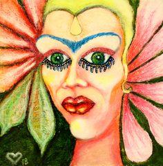 Oil Pastel Paintings, Original Paintings, Original Art, Pastel Portraits, Pastel Paper, Exotic Flowers, Woman Painting, Female Portrait, Abstract Art