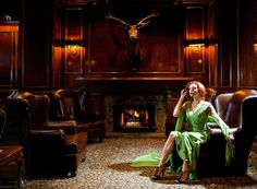 """Talented and gorgeous musician Jessie Farrell, looking extremely stylish in a classic """"gentlemen's smoking room"""" magazine editorial  © 2014 darryl humphrey - photography"""