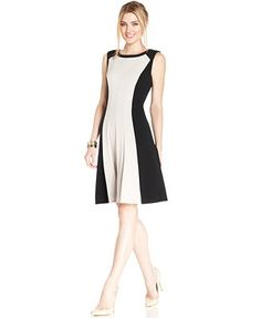 Connected Petite Sleeveless Seamed Colorblock Dress