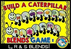 BUILD A CATERPILLAR: #BLENDS #GAME - #L BLENDS, #R BLENDS & #S BLENDS! #LITERACY #CENTER  BLENDS INCLUDED IN THIS RESOURCE: bl, cl, fl, gl, pl, sl, br, cr, dr, fr, gr, pr, tr, sc, sk, sm, sn, sp, st, sw.  Students assemble caterpillars by matching segments (each containing a picture starting with a particular blend) to the corresponding caterpillar face and attached segment (containing the printed blend).