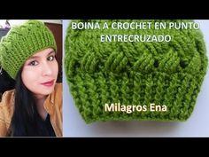 Boina a crochet en punto Entrecruzado paso a paso con indicaciones para diferentes edades - YouTube