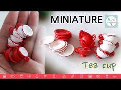미니어쳐 커피잔 컵 만드는 방법 how to make tea cup with polymerclay miniature tutorial crafte - YouTube