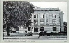Delphi Indiana IN 1940s Carroll County Court House Antique Vintage Postcard