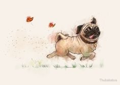 All u need to do to make me pleased is put me in a space filled with pug young puppies. Doug The Pug Plays With Pug Puppies All u need to do to make me happy is put me in a room filled with pug puppies. Tatoo Dog, Pug Tattoo, Tattoos, Illustration Art Dessin, Landscape Illustration, Animals And Pets, Cute Animals, Photo Animaliere, Pugs And Kisses