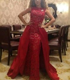 bfe0215aaee0 2017 New Red Lace Detachable Train Turkey Evening Pageant Dress Formal Prom  Gown