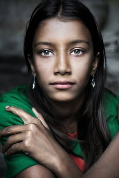 Bangladesh in Portrait~ By David Lazar. Girl with the amazing green eyes.