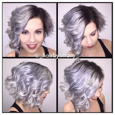 Gorgeous lavender silver hair color by Hair by Tiffany. platinum blonde. fb.com/hotbeautymagazine