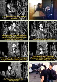Misha on getting pied by Jared and Jensen - pretty sure I've pinned this before, but too good not too!