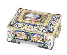 A silver-gilt and pictorial enamel casket, Feodor Rückert, Moscow, 1899-1908 | lot | Sotheby's