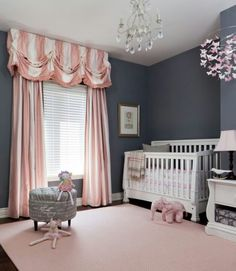Baby Girls Bedroom Ideas. Admirable Baby Girl Bedroom Ideas With Dark Gray Wall Paint Color Also  Elegant White Wooden Cradle Luxury Pink And Curtains Light Rug d i y e s g n DIY Nursery in Grey I just like the