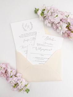 Neutral Letterpress Wedding Invitation with Monogram Wreath, Simple Modern Wedding Invites