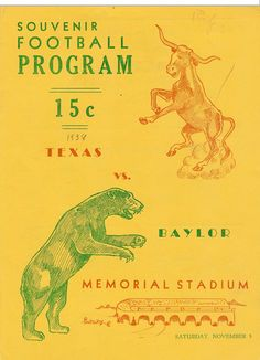 Program for the Texas vs. Baylor football game, 1938.