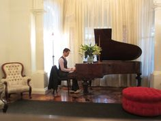 Melbourne pianist Calvin Leung performs at a wedding reception.