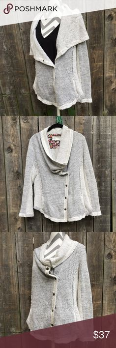 Anthro Saturday Sunday cowl neck moto sweater Snap closures and a lightweight knit make this sweater a must have this Fall! Anthropologie Sweaters