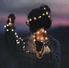 Fairy lights, night life, silhouette, pink skies