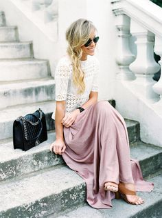Mary Seng of Happily Grey wears a maxi skirt and a white lace top for a flirty street style look. This outfit! Looks Style, Style Me, Classy Style, Look Fashion, Fashion Beauty, Spring Fashion, Ladies Fashion, Romantic Style Fashion, Pastel Fashion