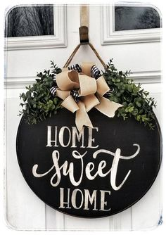 Your place to buy and sell all things handmade, Wooden Home Sweet Home Rustic Welcome Sign Farmhouse Wooden Door Signs, Wooden Door Hangers, Wooden Doors, Welcome Signs Front Door, Front Door Decor, Welcome Home Signs, Wooden Welcome Signs, Front Doors, Sweet Home
