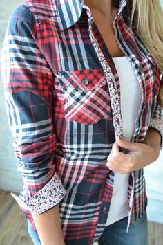 Small Town Plaid Top (Red & Blue)
