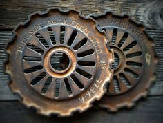 2 Vintage Primitive Cast Iron Gears Antique by mancaveind on Etsy, $37.99
