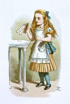 """Drink me"" Illustration for the first chapter by Sir John Tenniel, 1865 coloured and enlarged in the Nursery Alice edition of 1890"