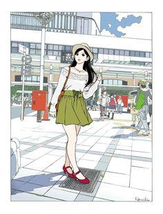 My biggest art inspiration/influence aside from Hayao Miyazaki is Hisashi Eguchi. Hipster Drawings, Art Drawings, Couple Drawings, Pencil Drawings, Manga Art, Anime Art, Manga Drawing, Drawing Tips, Pop Art Illustration