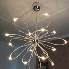 Taklampe med LED-lys   FINN.no Line Light, Chandelier, Ceiling Lights, Led, Lighting, Design, Home Decor, Candelabra, Decoration Home