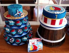 Nautical First Birthday - A nautical themed birthday with all chocolate mud cupcakes, smash cake and main cutting cake.  Decorated to match the invitations.