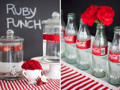 Coca Cola bottles for a red party? Red Bridal Showers, White Bridal Shower, Retro Party, Vintage Party, Vintage Circus, Snack Bar, Coca Cola Party, Slate Wedding, Red Wedding