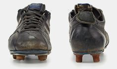 the collection shows a selection of adidas classic football cleats from the last 50 years including franz beckenbauer and david beckham's signature models. Football Cleats, Football Boots, Adidas Football, David Beckham Signature, Adidas Boots, Hiking Boots, History, Classic, Sports