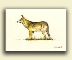 ORIGINAL-Gray Wolf animal painting wolves by SanMartinArtsCrafts